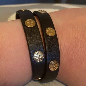 Tory Burch leather black and gold bracelet.